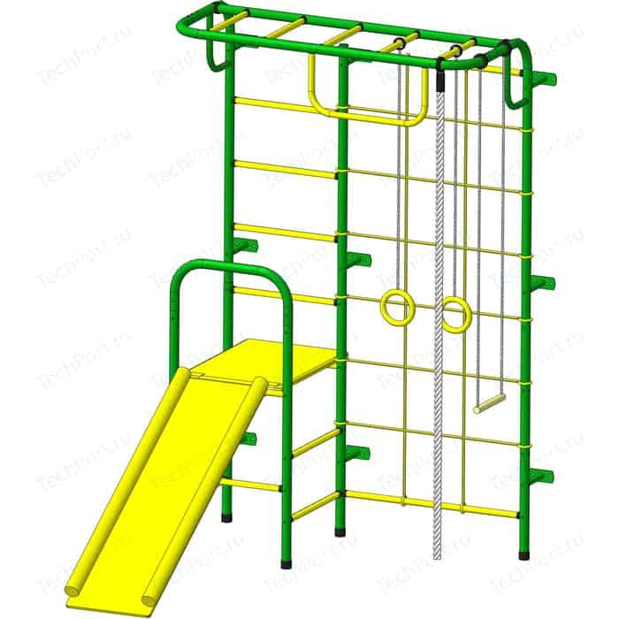 Детский спортивный комплекс Пионер С107М зелено-желтый