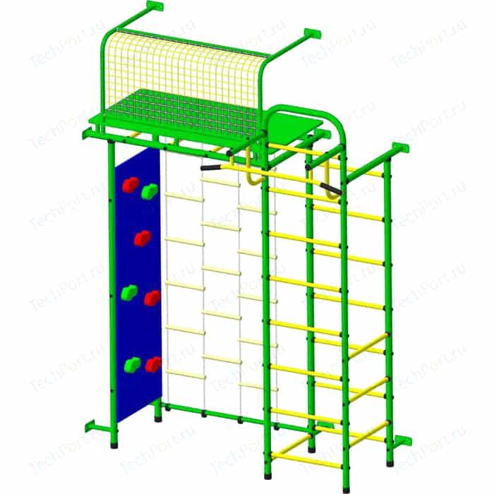 Детский спортивный комплекс Пионер 10ЛМ со скалодромом зелено/желтый