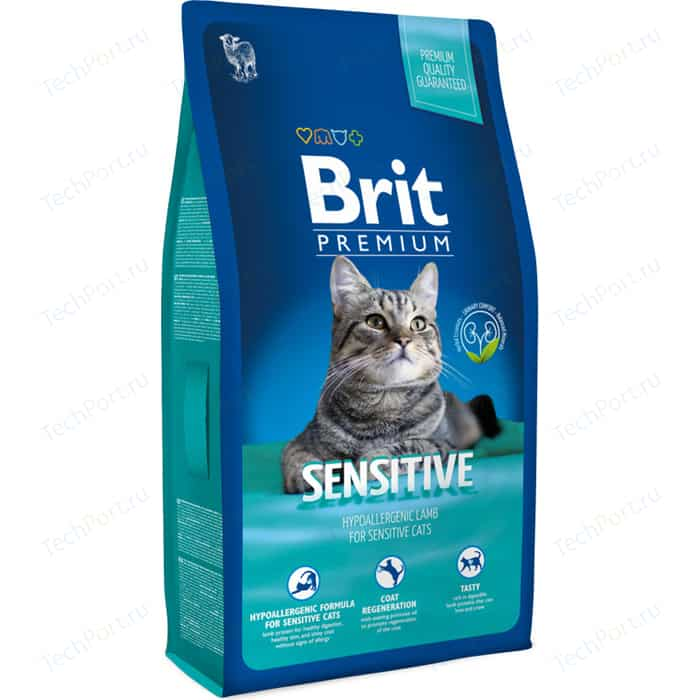 Сухой корм Brit Premium Cat Sensitive with Lamb с ягненком для кошек чувствительным пищеварением 800г (513192)