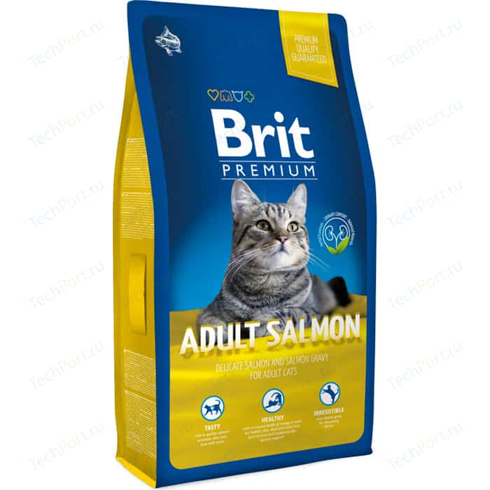 Сухой корм Brit Premium Cat Adult Salmon с лососем в соусе для взрослых кошек 8кг (513130) brit brit premium cat adult salmon 1 5 кг