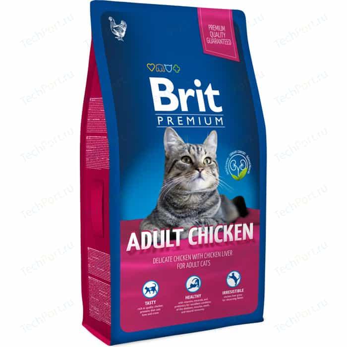 Сухой корм Brit Premium Cat Adult Chicken с мясом курицы и куриной печенью для взрослых кошек 8кг (513093)