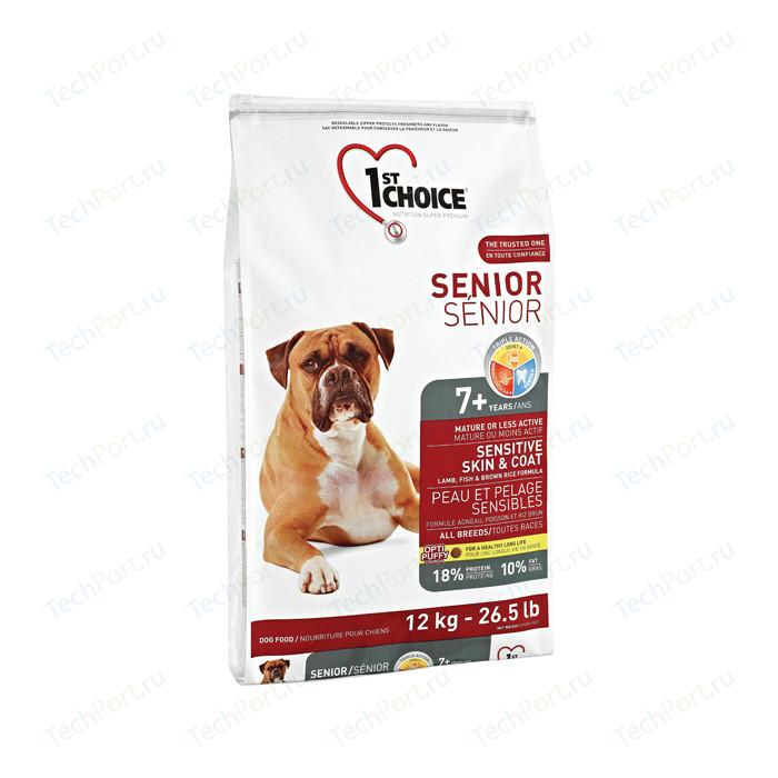 Сухой корм 1-ST CHOICE Senior Sensitive Skin Lamb Fish&Rice с ягненком рыбой и рисом для пожилых собак чувствительной кожей шерстью 12кг(102.332)