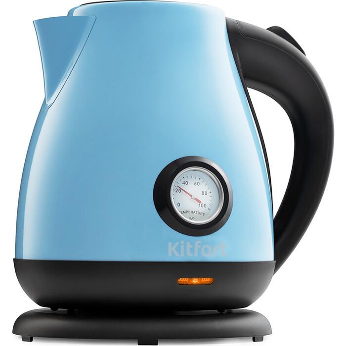 Чайник электрический KITFORT KT-642-2, голубой чайник kitfort kt 642 1 розовый