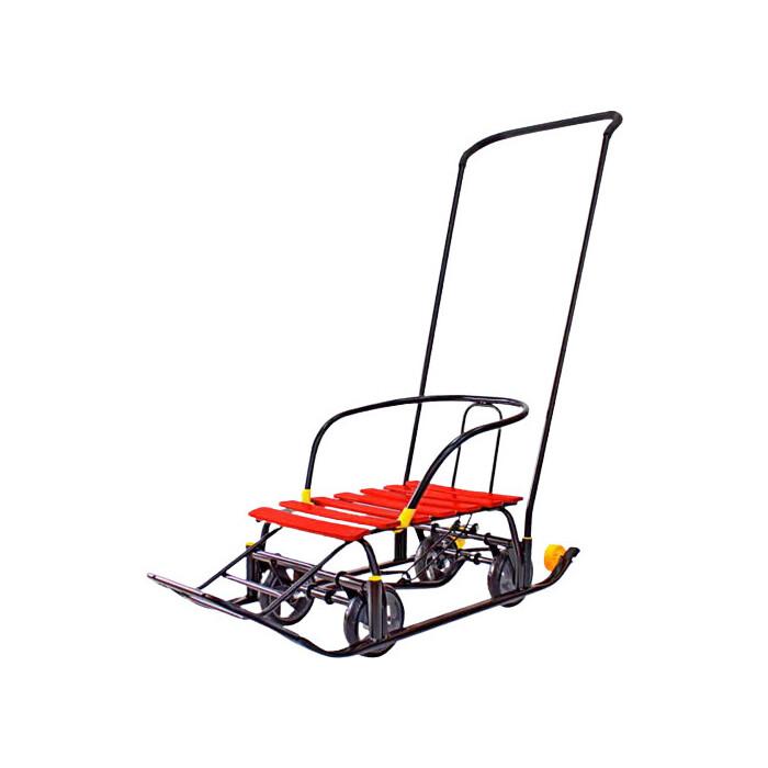 Санки GALAXY Snow Black Auto красные рейки на больших мягких колесах