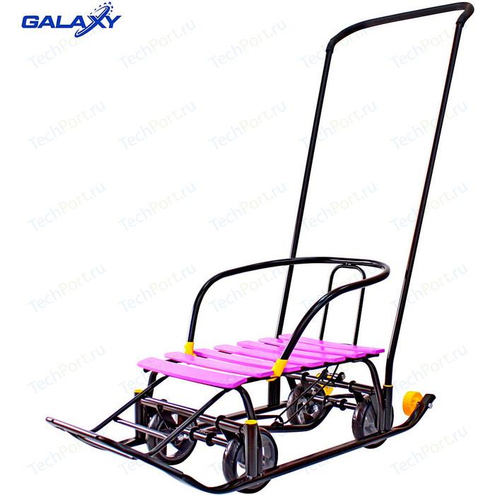 Санки GALAXY Snow Black Auto сливовые рейки на больших мягких колесах