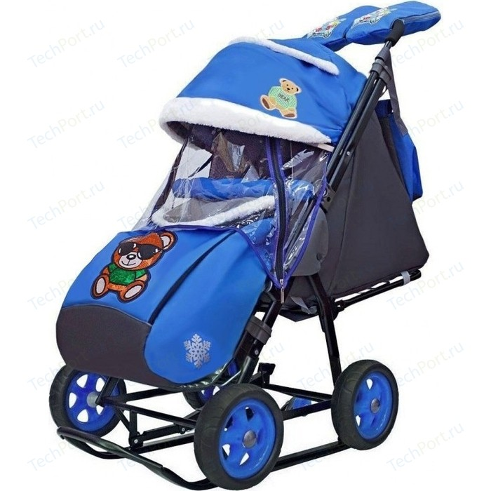Санки коляска GALAXY SNOW City-2 Зелёный Мишка на синем больших колёсах Ева+сумка+варежки
