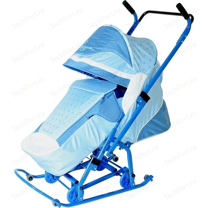 Санки коляска Скользяшки 0923-P14 Мозаика голубой-васильковый-белый