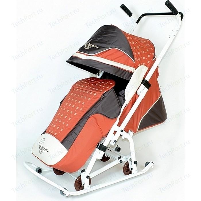 Санки коляска Скользяшки 0932-P14 Мозаика терракотовый-коричневый-светло-бежевый