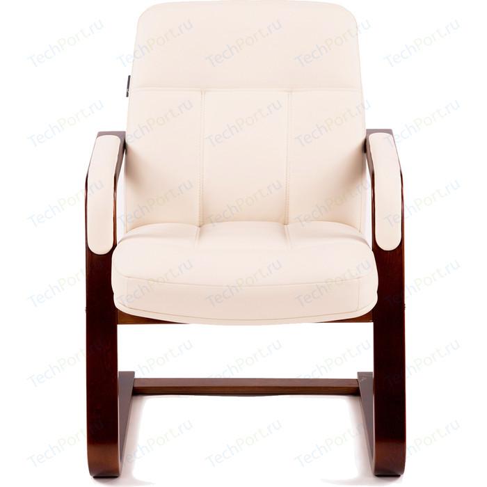 Кресло Мебелик Мичиган-1 с подлокотниками экокожа крем/каркас вишня