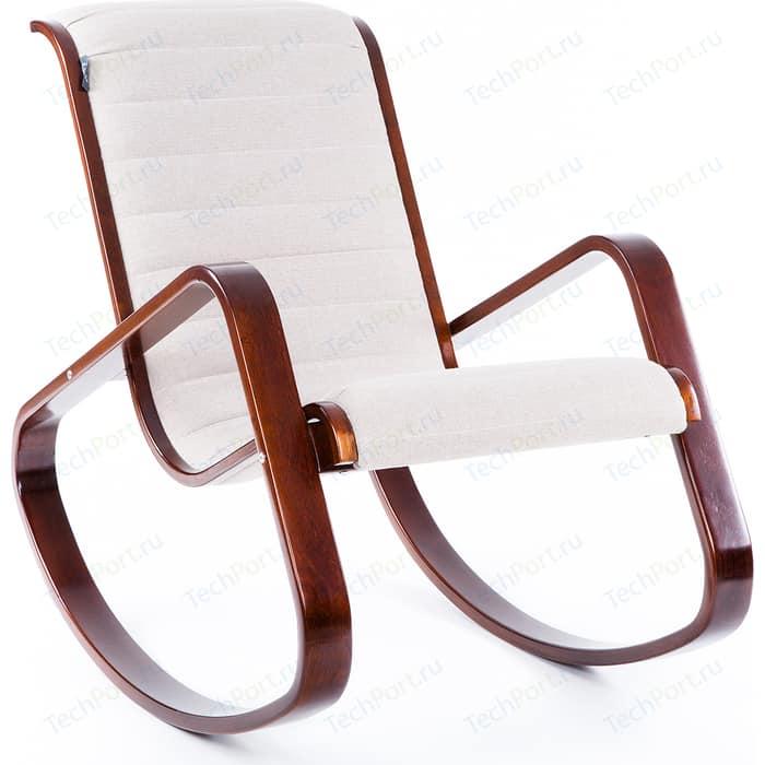 Кресло-качалка Мебелик Арно ткань миндаль/каркас вишня