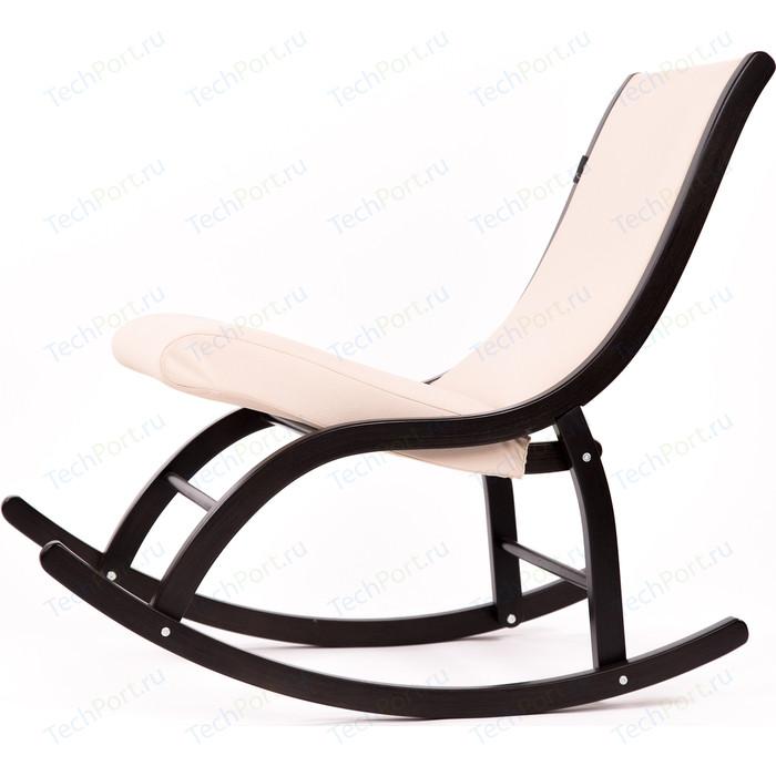 Кресло-качалка Мебелик Люцерн ткань гардения, каркас венге