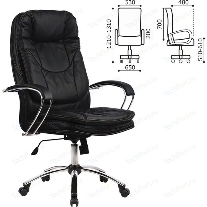 Кресло офисное Метта LK-11CH кожа, хром, черное, ш/к 85789