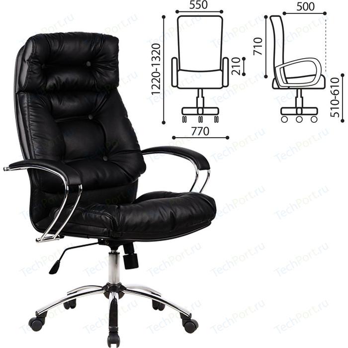 Кресло офисное Метта LK-14CH кожа, хром, черное, ш/к 87226
