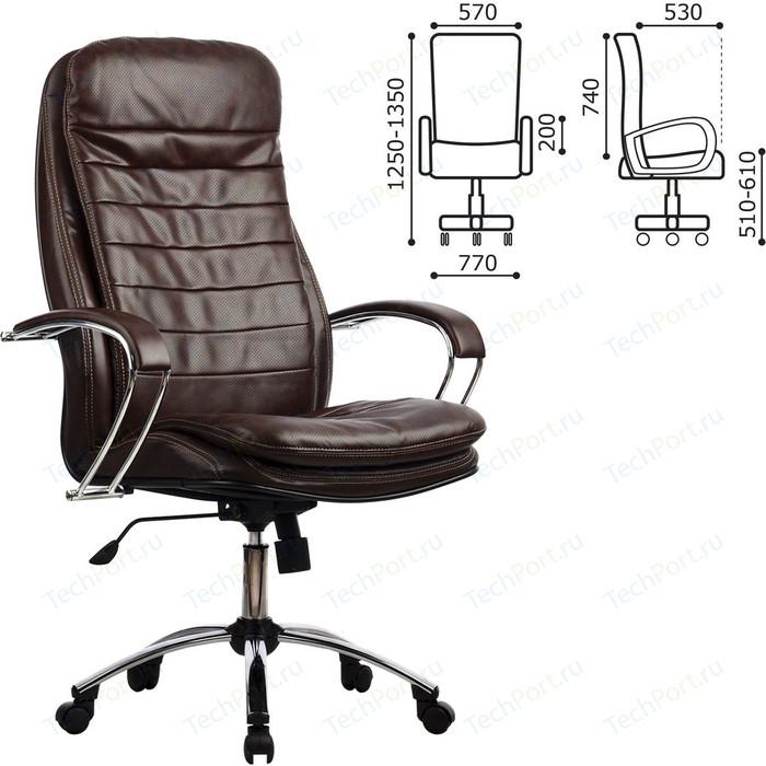 Кресло офисное Метта LK-3CH кожа, хром, коричневое, ш/к 85369