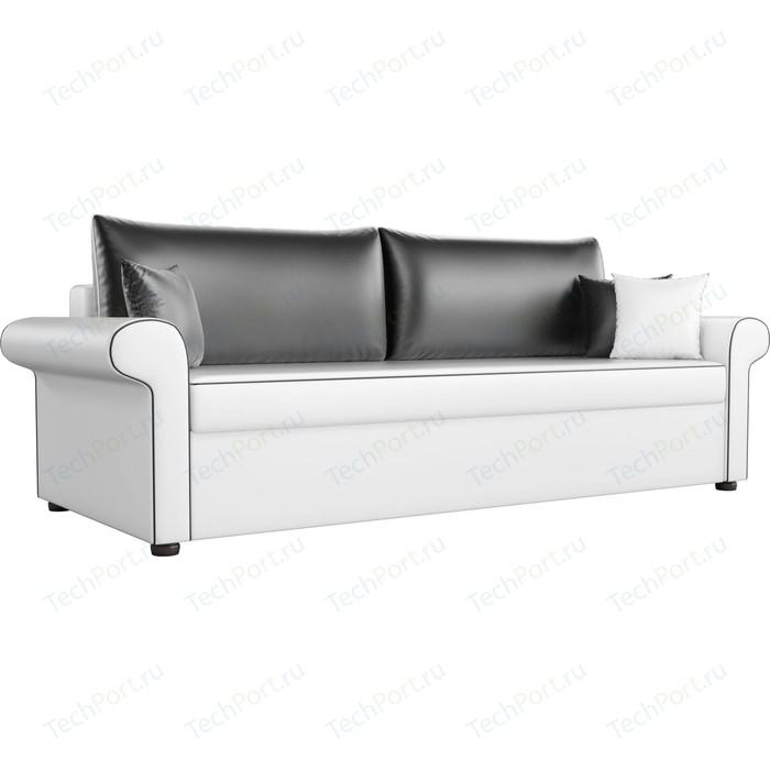 Диван прямой АртМебель Милфорд экокожа белый с черными подушками
