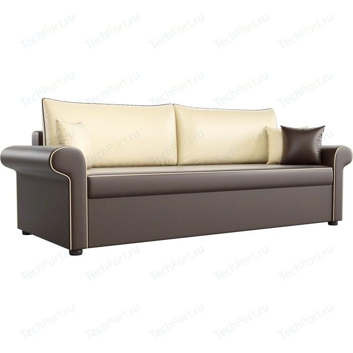 Диван прямой АртМебель Милфорд экокожа коричневый с бежевыми подушками