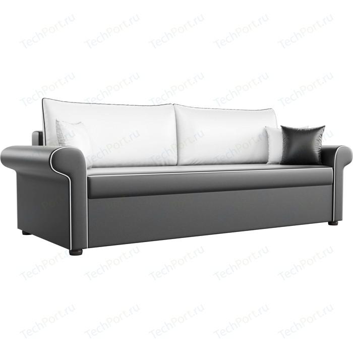 Диван прямой АртМебель Милфорд экокожа черный с белыми подушками