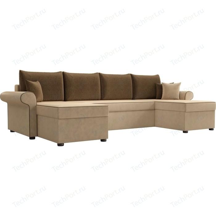 Диван П-образный АртМебель Милфорд микровельвет бежевый подушки коричневые