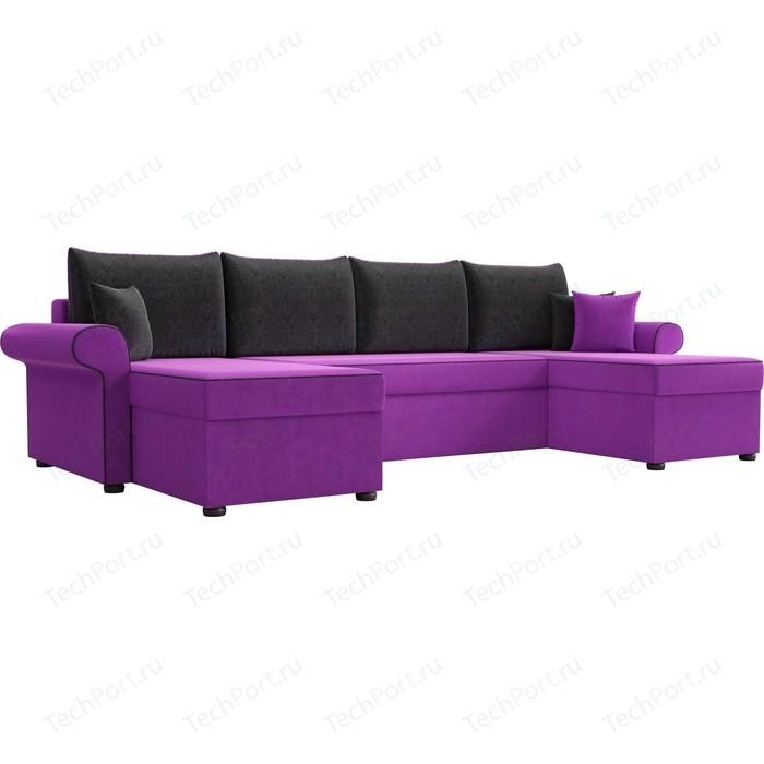 Диван П-образный АртМебель Милфорд микровельвет фиолетовый подушки черные