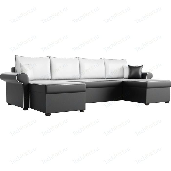Диван П-образный АртМебель Милфорд экокожа черный подушки белые