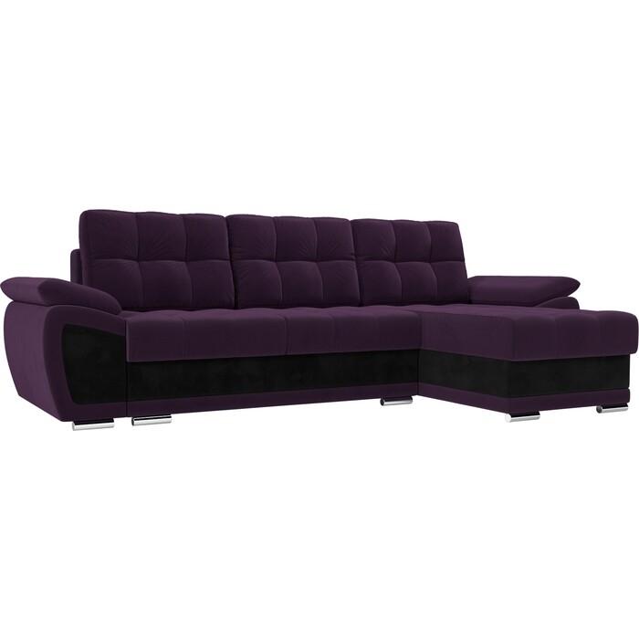 Диван угловой АртМебель Нэстор велюр фиолетовый вставка черная правый угол