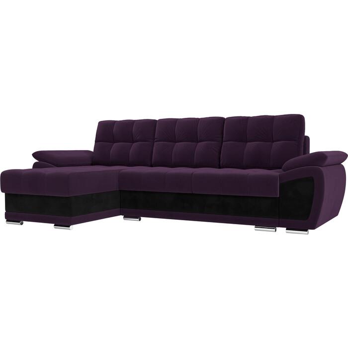 Диван угловой АртМебель Нэстор велюр фиолетовый вставка черная левый угол