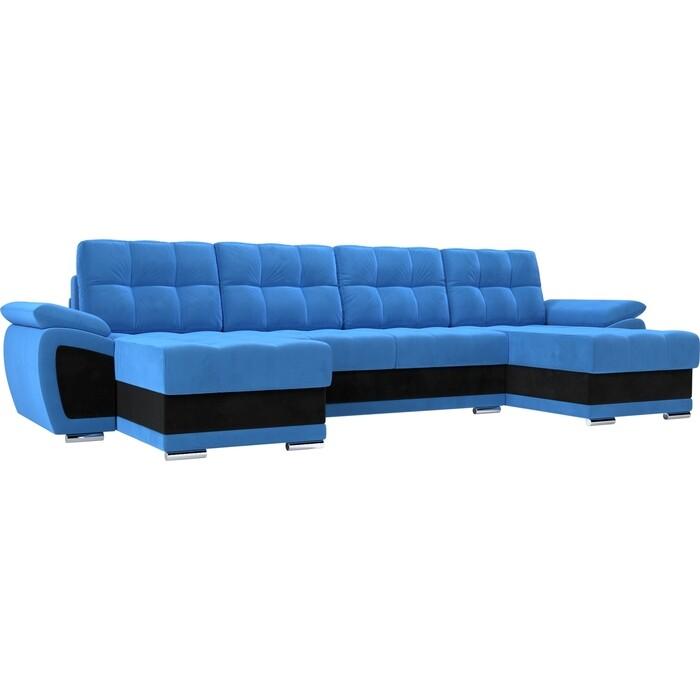 Диван П-образный Лига Диванов Нэстор велюр голубой вставка черная