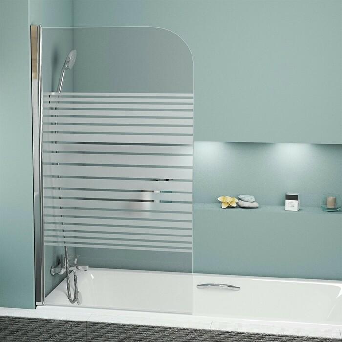 Шторка для ванны Grossman GR-100P 80х140 прозрачная с рисунком, хром