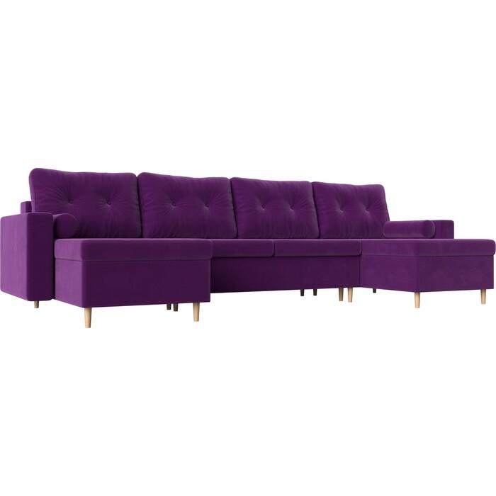 Диван АртМебель Белфаст микровельвет фиолетовый П-образный