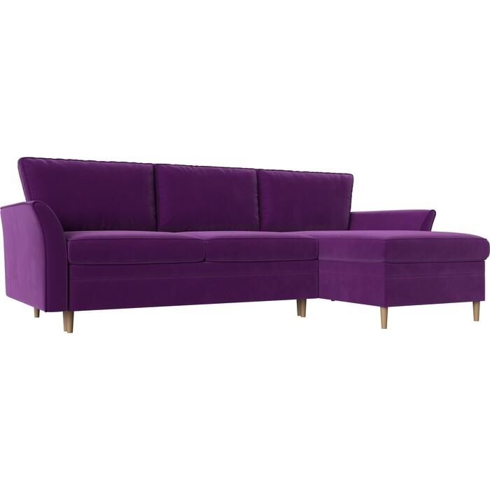 Диван угловой АртМебель София вельвет фиолетовый правый угол