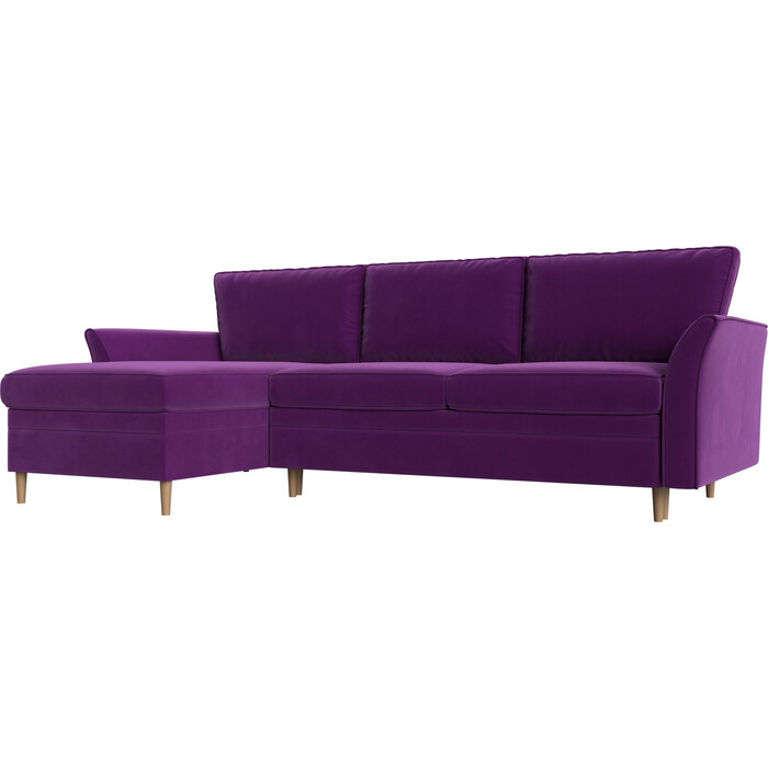 Диван угловой АртМебель София вельвет фиолетовый левый угол