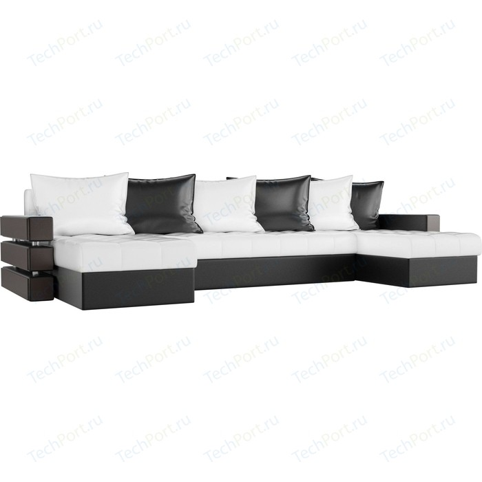 Диван П-образный АртМебель Венеция экокожа белый/черный