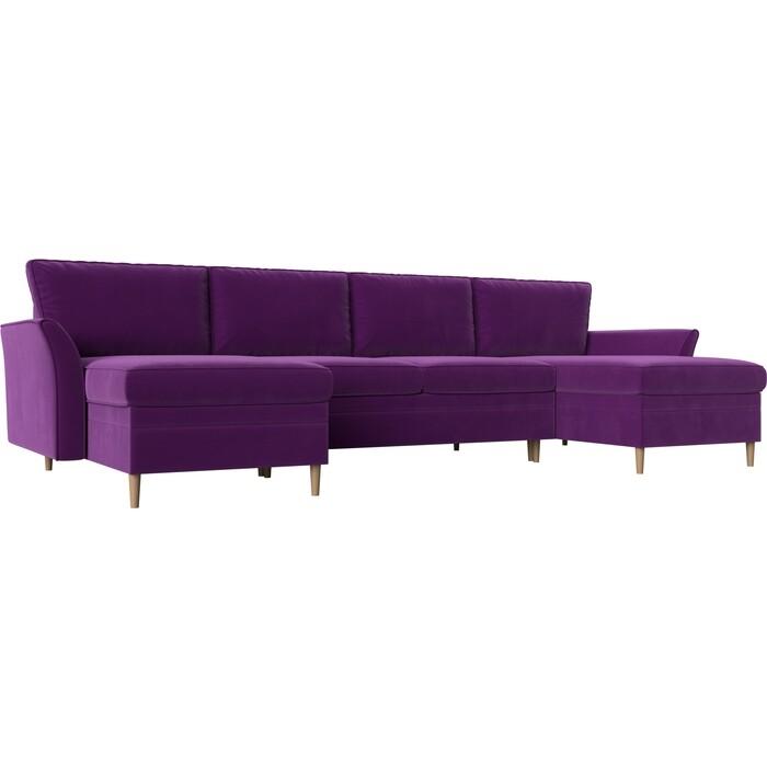 Диван АртМебель София микровельвет фиолетовый П-образный