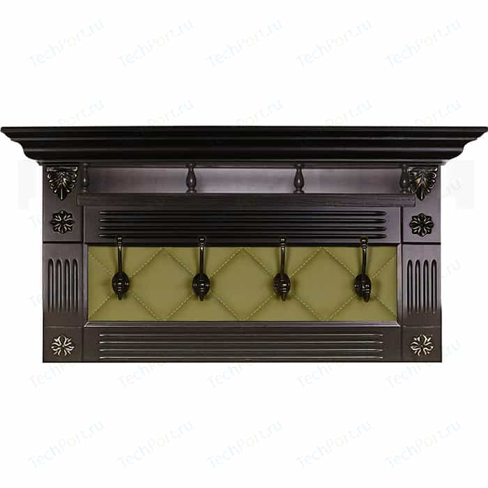 Вешалка в прихожую Мебелик Сильвия Н5 экокожа оливковый/венге