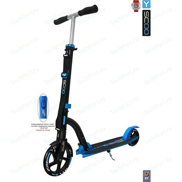 Самокат 2-х колесный Y-Scoo SLICKER DELUXE 205 с амортизатором blue (4859) самокат 2 х колесный y scoo rt 230 slicker deluxe new technology с амортизатором blue