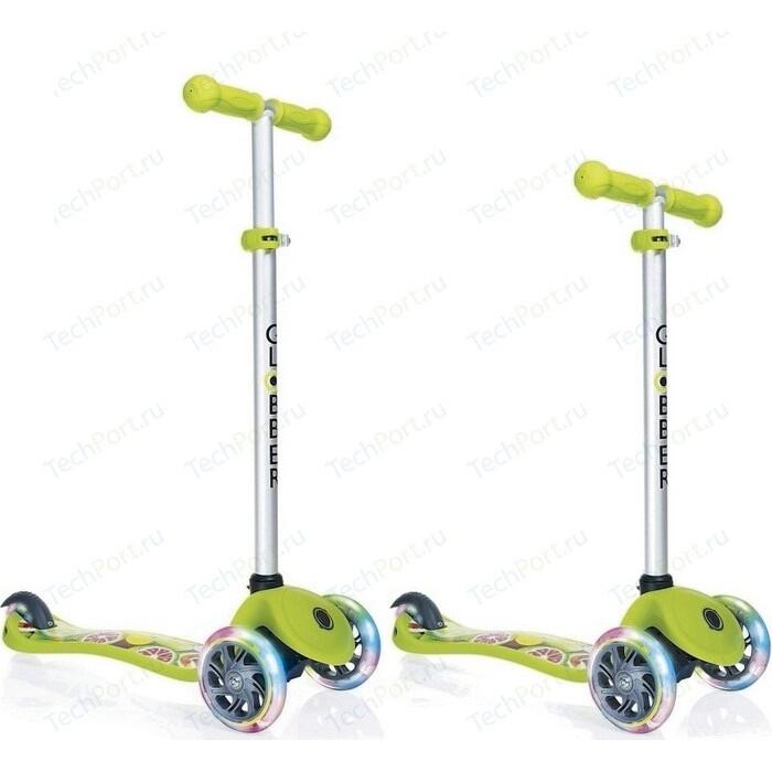 Самокат 3-х колесный Y-Scoo GLOBBER PRIMO Fantasy с 3 светящимися колесами FRUITINESS Lime green (6551)