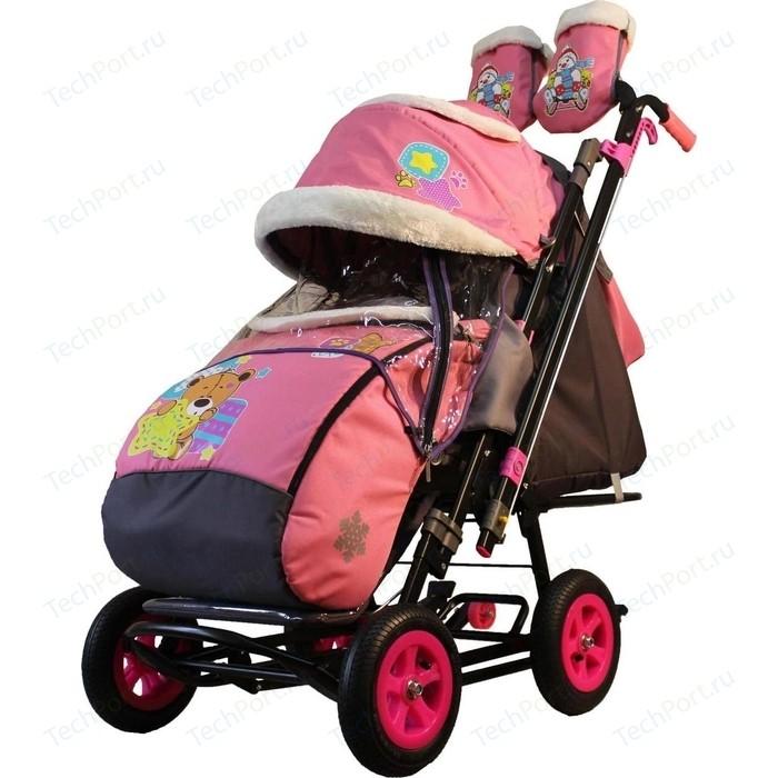 Санки-коляска GALAXY SNOW City-2-1 Мишка со звездой на розовом больших надувных колёсах (7089)