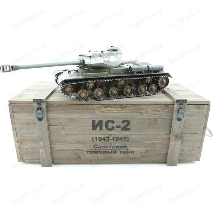 Радиоуправляемый танк Taigen ИС-2 модель 1944, СССР, зеленый, деревянная коробка RTR масштаб 1:16 2.4G - TG3928-1G-BOX