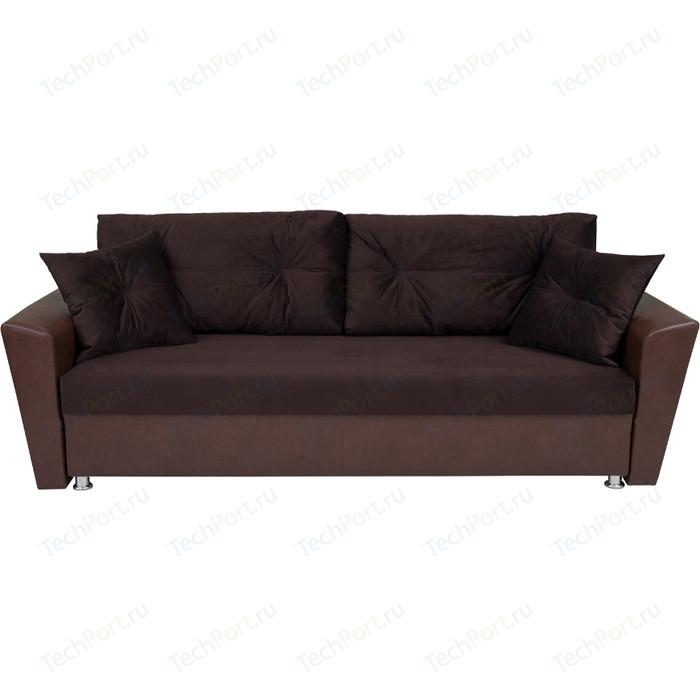 Диван Экомебель Модерн вельвет коричневый/экокожа темно-коричневая