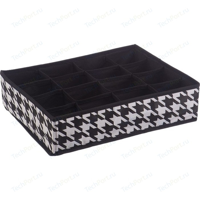 Короб Handy Home органайзер Пепита 16 секций, Д350 Ш270 В90, черно-белый