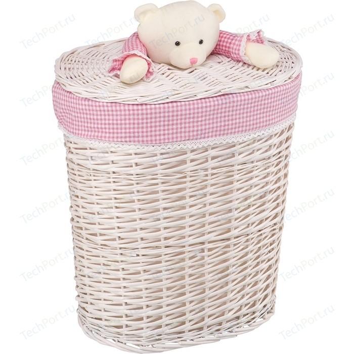 Корзина бельевая Natural House Медвежонок розовый, Д490 Ш370 В550, белый