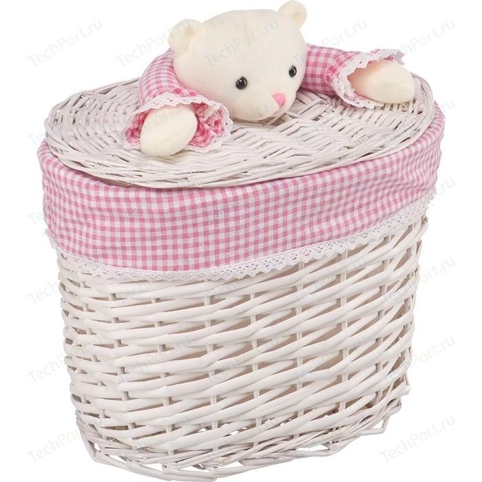 Корзина бельевая Natural House Медвежонок розовый, Д330 Ш210 В280, белый