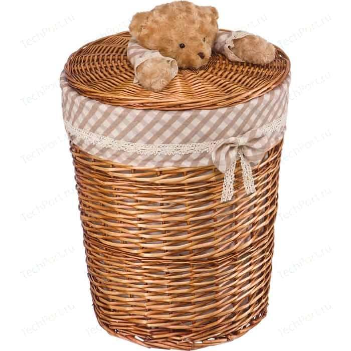 Корзина бельевая Natural House Медвежонок, Д450 Ш450 В560, коричневый