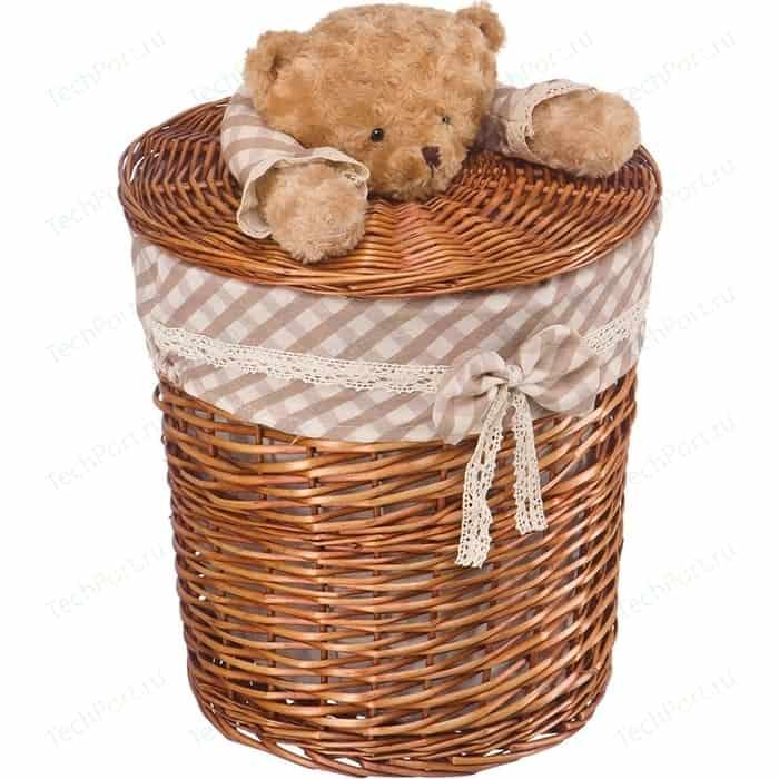 Корзина бельевая Natural House Медвежонок, Д370 Ш370 В400, коричневый