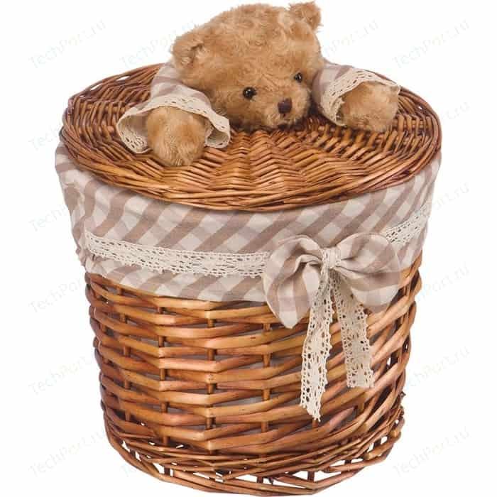 Корзина бельевая Natural House Медвежонок, Д290 Ш280 В360, коричневый