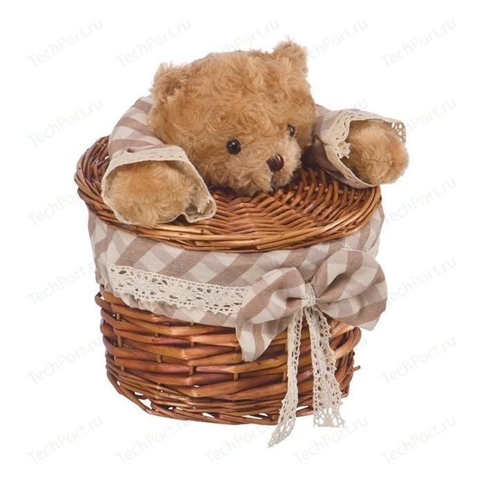 Корзина бельевая Natural House Медвежонок, Д210 Ш210 В240, коричневый