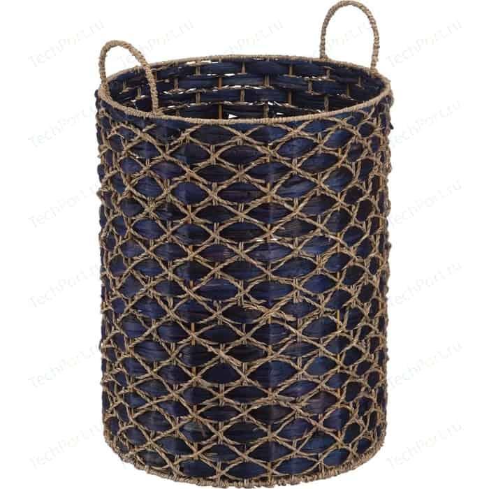 Корзина бельевая Natural House с ручками Индиговое плетение, Д400 Ш400 В500, светло-соломенный, индиговый
