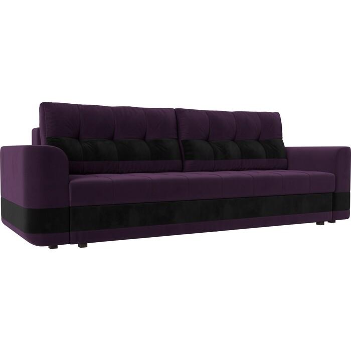 Диван еврокнижка Лига Диванов Честер велюр фиолетовый вставка черная.