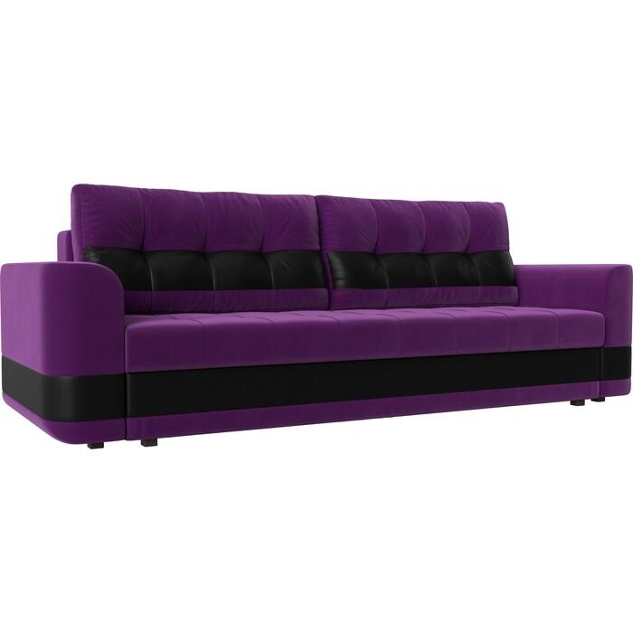 Диван еврокнижка АртМебель Честер вельвет фиолетовый вставка экокожа черная
