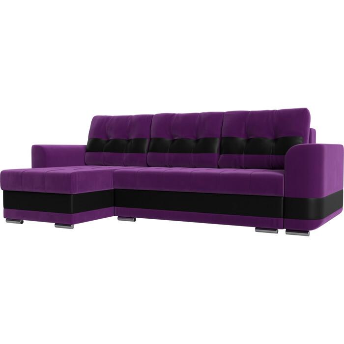 Диван угловой АртМебель Честер вельвет фиолетовый вставка экокожа черная левый угол